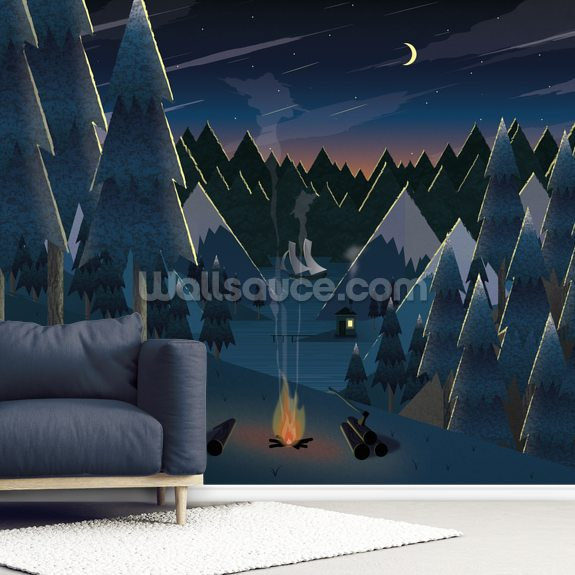 Moonlight Camping mural wallpaper room setting