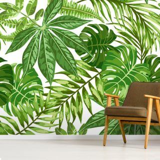 Exotic Leaf Pattern Wallpaper Wall Murals