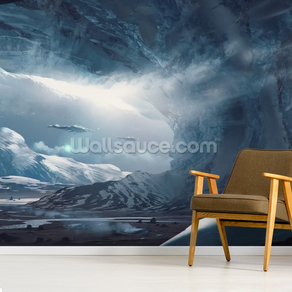 Big Game Ice Planet mural wallpaper room setting