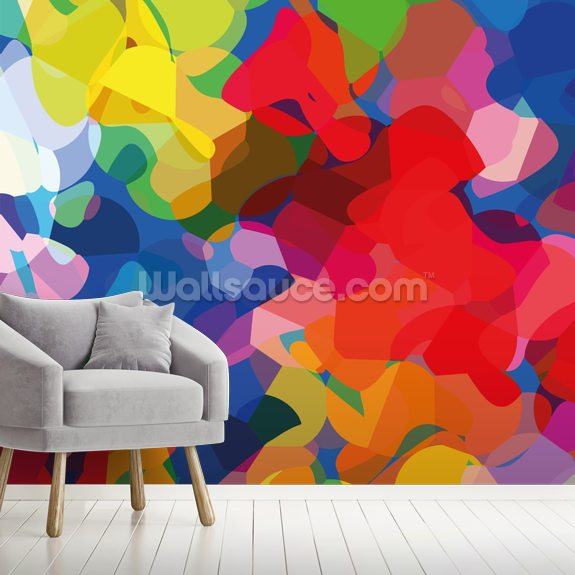 Underwater wall mural room setting