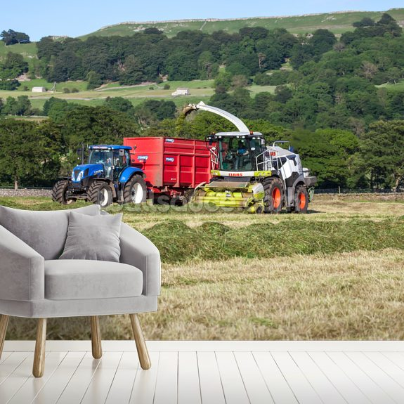 New Holland and Claas wallpaper mural room setting
