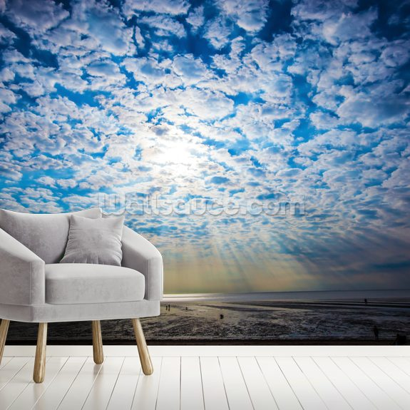 Norfolk Beach Sunset mural wallpaper room setting