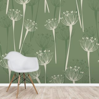 Cow Parsley Olive Wallpaper Wall Murals