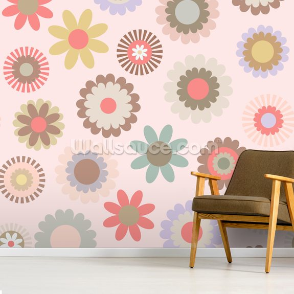 Floral Frenzy mural wallpaper room setting