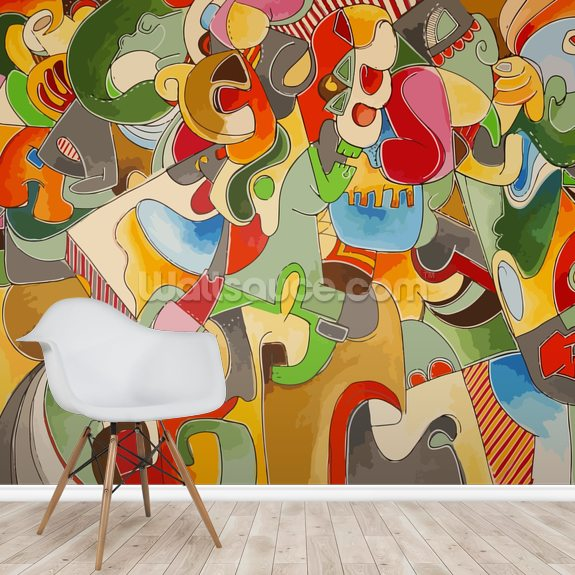 Chaotic Neutral mural wallpaper room setting