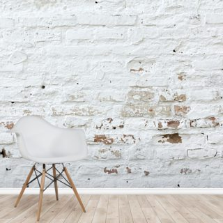 Distressed White Brick Wallpaper Wall Murals