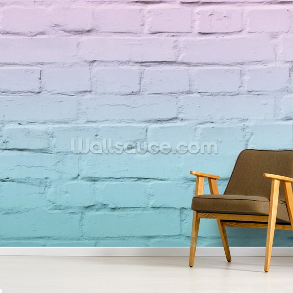 Old Brickwork Blue and Pink Mural wallpaper mural room setting