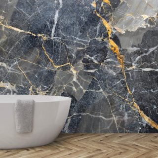 Grey with Gold Marble Wallpaper Wall Murals