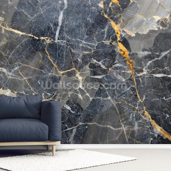 Grey with Gold Marble mural wallpaper room setting