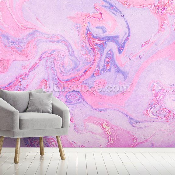 Pink and Purple Marble wall mural room setting