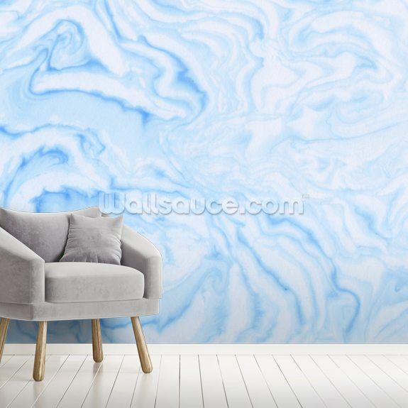 Blue Ink Marble mural wallpaper room setting
