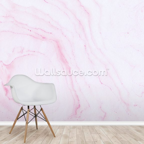 Hand Painted Red Ink Marble wall mural room setting