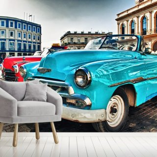 Vintage classic american car parked in a street of Old Havana Wallpaper Wall Murals