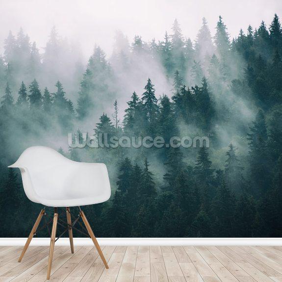 3202f9c947f7 Misty Forest Landscape wallpaper mural room setting