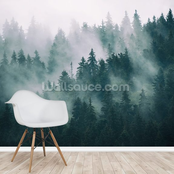 Smokey Misted Forest wallpaper mural room setting