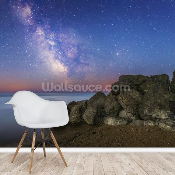 The Milky Way during astronomical twilight mural wallpaper room setting