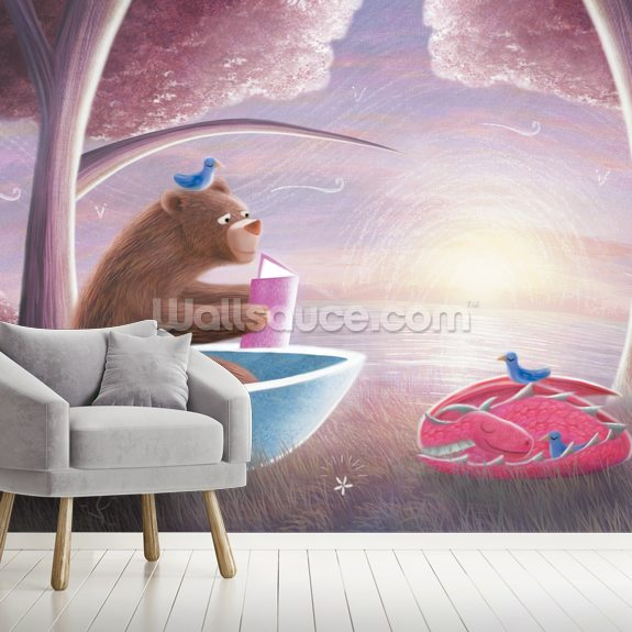 Bear Reading to Dragon mural wallpaper room setting