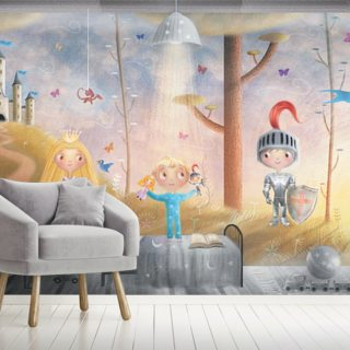 Boy With Knight And Princess Toys Wallpaper Wall Murals