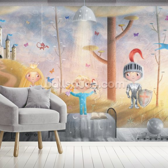 Boy With Knight And Princess Toys wall mural room setting