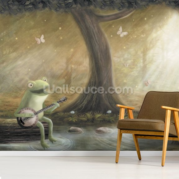 Frogs Banjo wall mural room setting