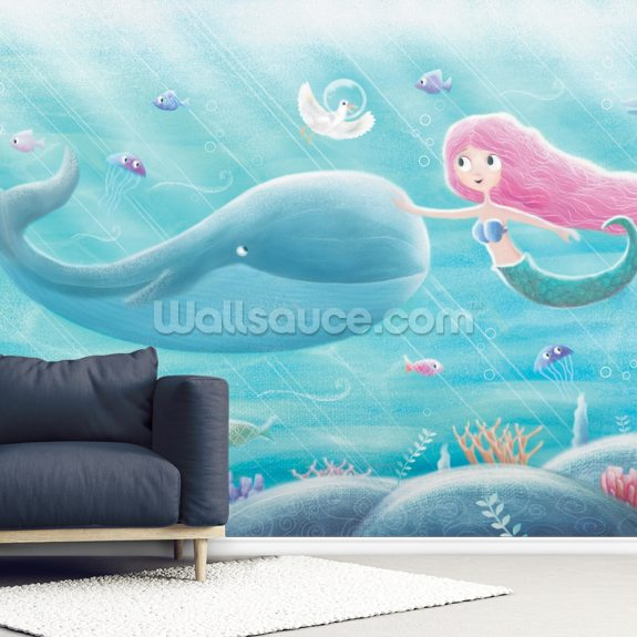 Mermaid Friends mural wallpaper room setting