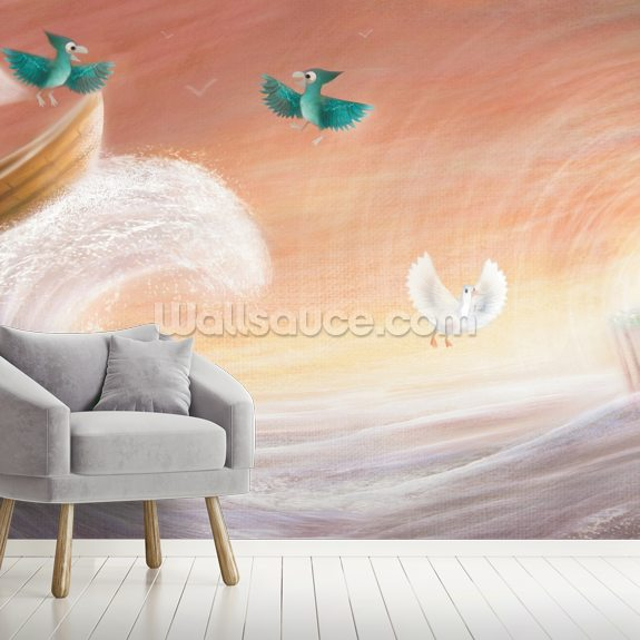 Parrots In A Boat wallpaper mural room setting