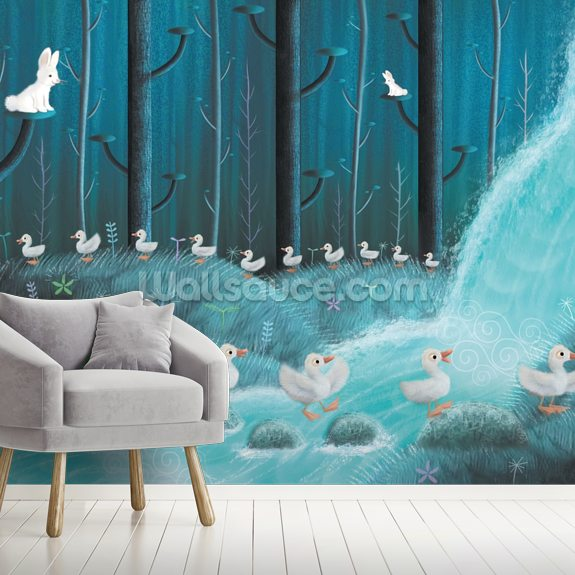 Rabbits And Ducks mural wallpaper room setting