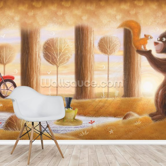 Squirrel Bear and Frog wallpaper mural room setting