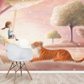 Tiger Swing Girl Wallpaper Wall Murals