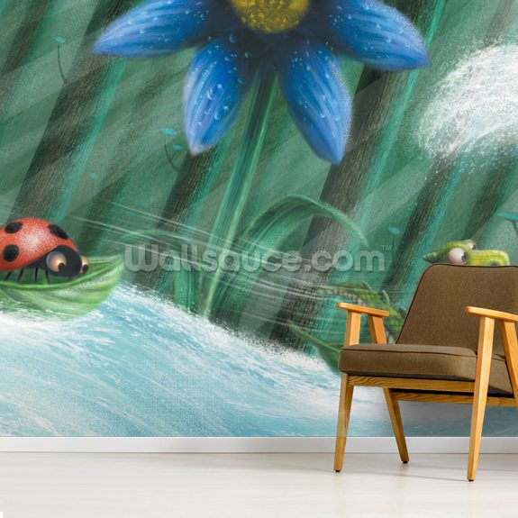 Tiny Dinosaur Ladybird Leaf wall mural room setting