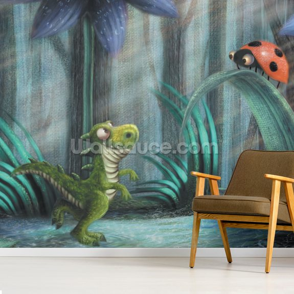 Tiny saurus And Ladybird wallpaper mural room setting
