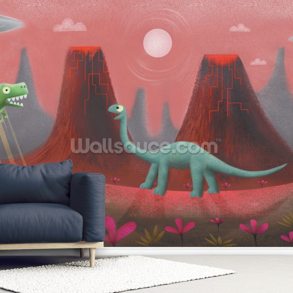 UFO and Dinos wall mural room setting