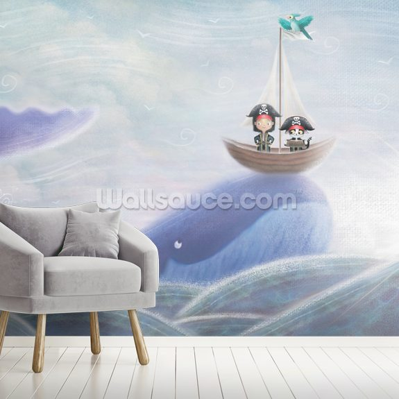 Whale And Pirate Cat mural wallpaper room setting