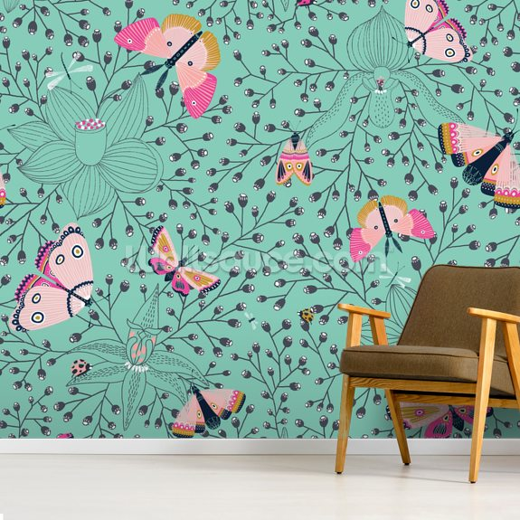 Butterflys and Bugs mural wallpaper room setting