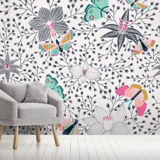 Butterflies And Orchids Wallpaper Wall Murals