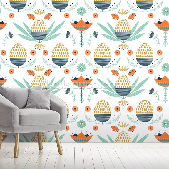 Floral 2 wallpaper mural room setting