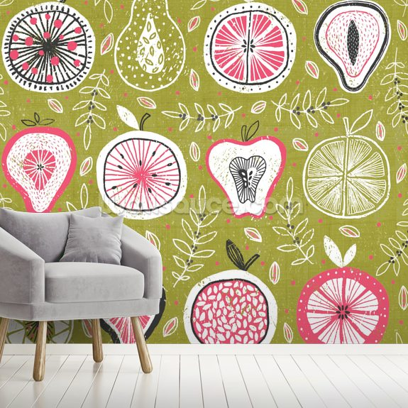 Fruit And Floral mural wallpaper room setting