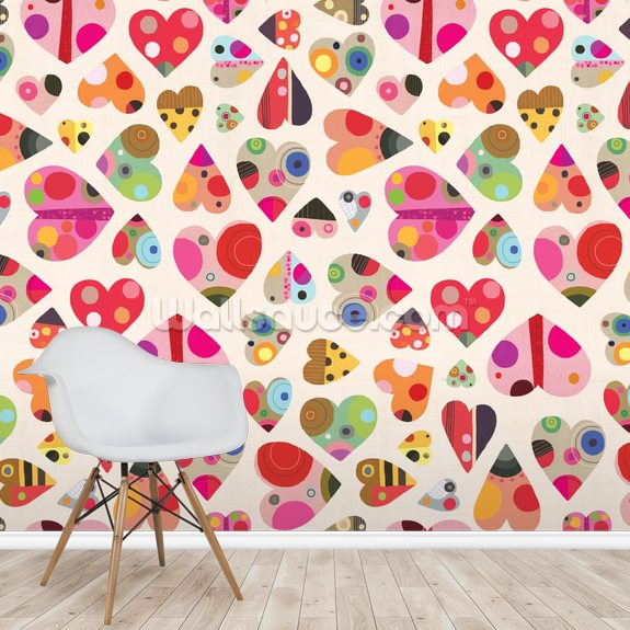 Heart Pattern wall mural room setting