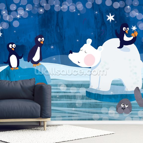 Arctic mural wallpaper room setting
