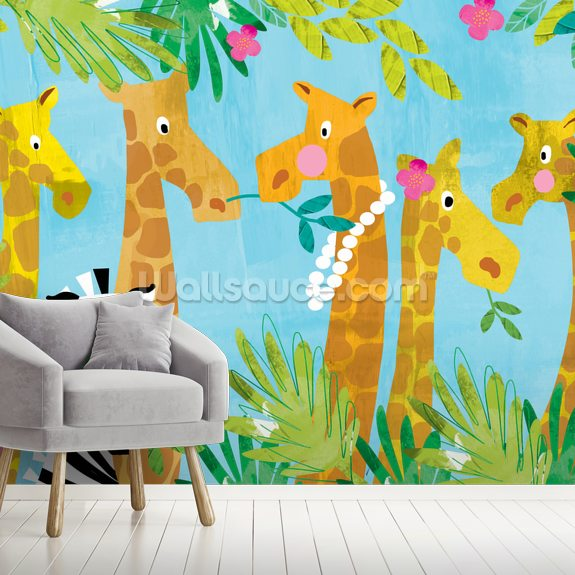 Giraffes wallpaper mural room setting