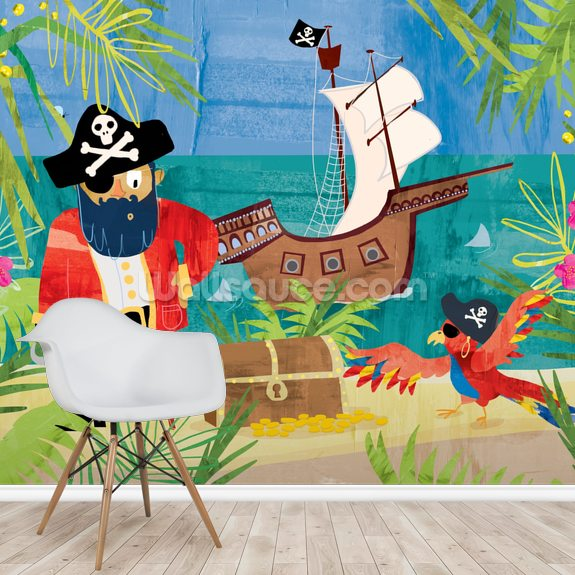 Pirates wallpaper mural room setting