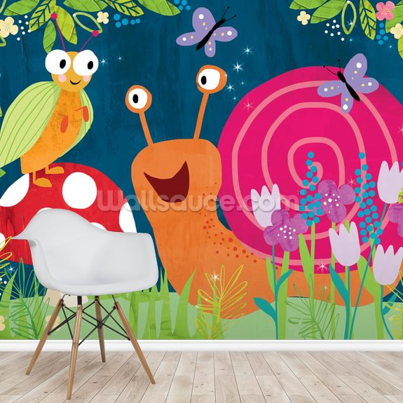 Snail Puzzle mural wallpaper room setting