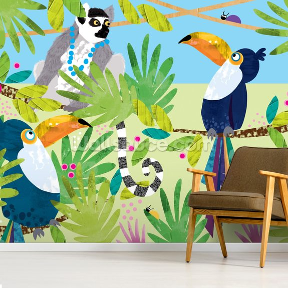 Toucans wall mural room setting
