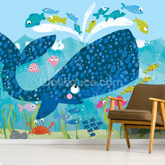 Whale wallpaper mural room setting