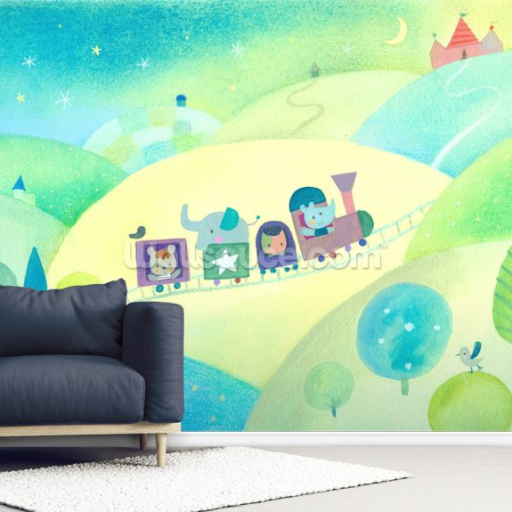Baby Train wall mural room setting