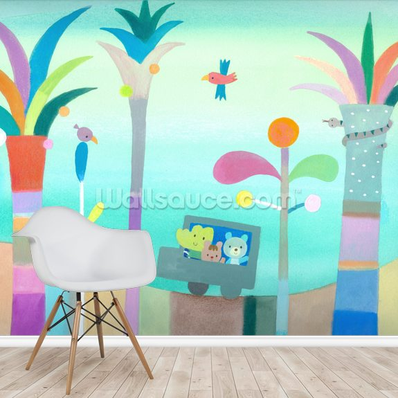 Palm Tree Road wallpaper mural room setting