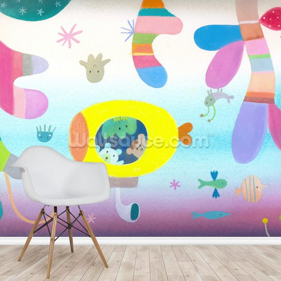 Submarine mural wallpaper room setting