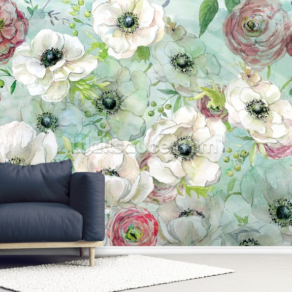 Anemonies and Ranunculus mural wallpaper room setting