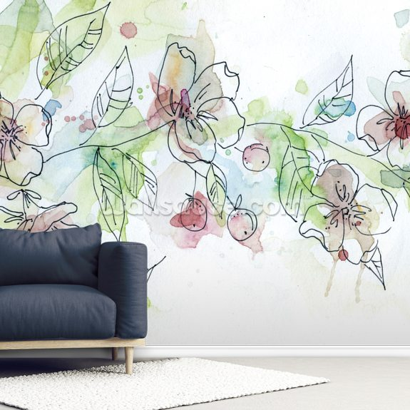 Apple Blossoms wall mural room setting