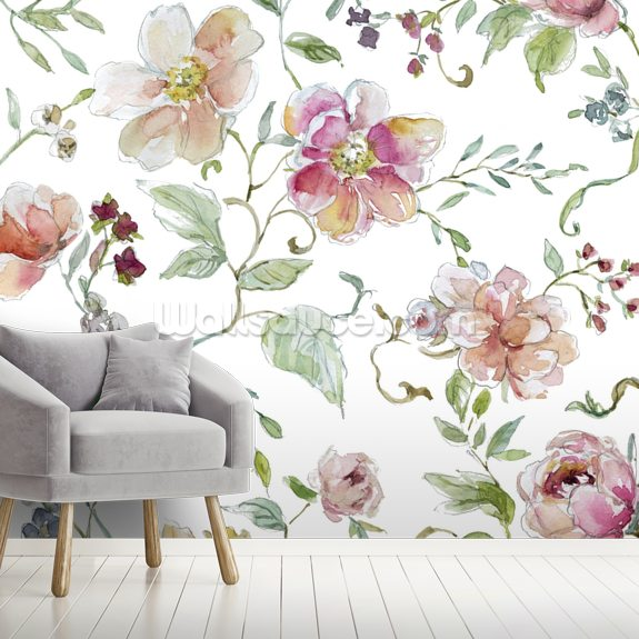 Chinoiserie wallpaper mural room setting